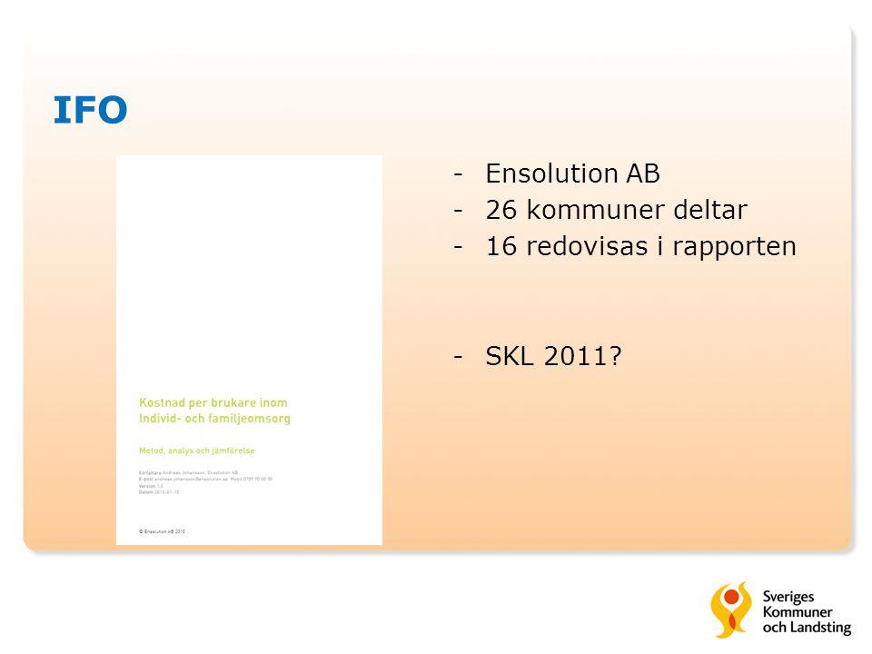 IFO -Ensolution AB -26 kommuner deltar -16 redovisas i rapporten -SKL 2011?