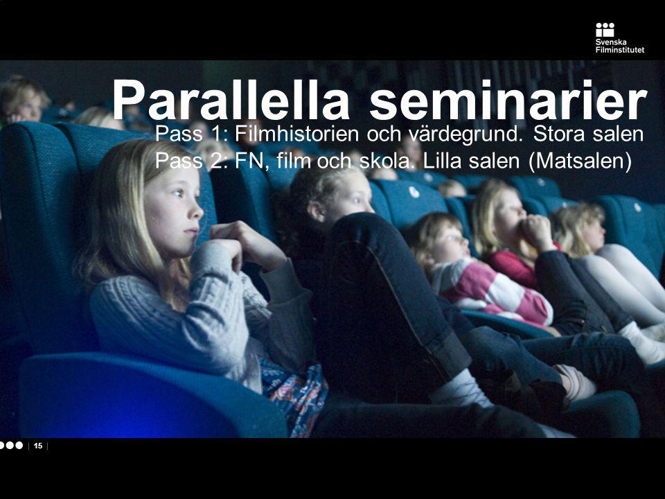| 15 | Pass 1: Filmhistorien och värdegrund.Stora salen Pass 2: FN, film och skola.