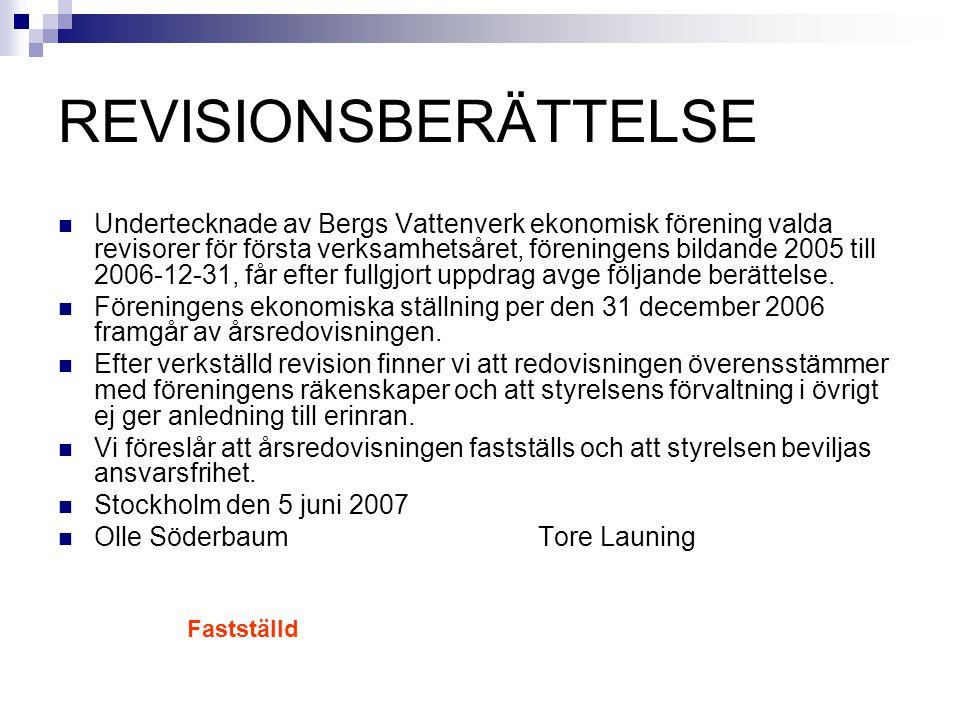 REVISIONSBERÄTTELSE Undertecknade av Bergs Vattenverk ekonomisk förening valda revisorer för första verksamhetsåret, föreningens bildande 2005 till 20
