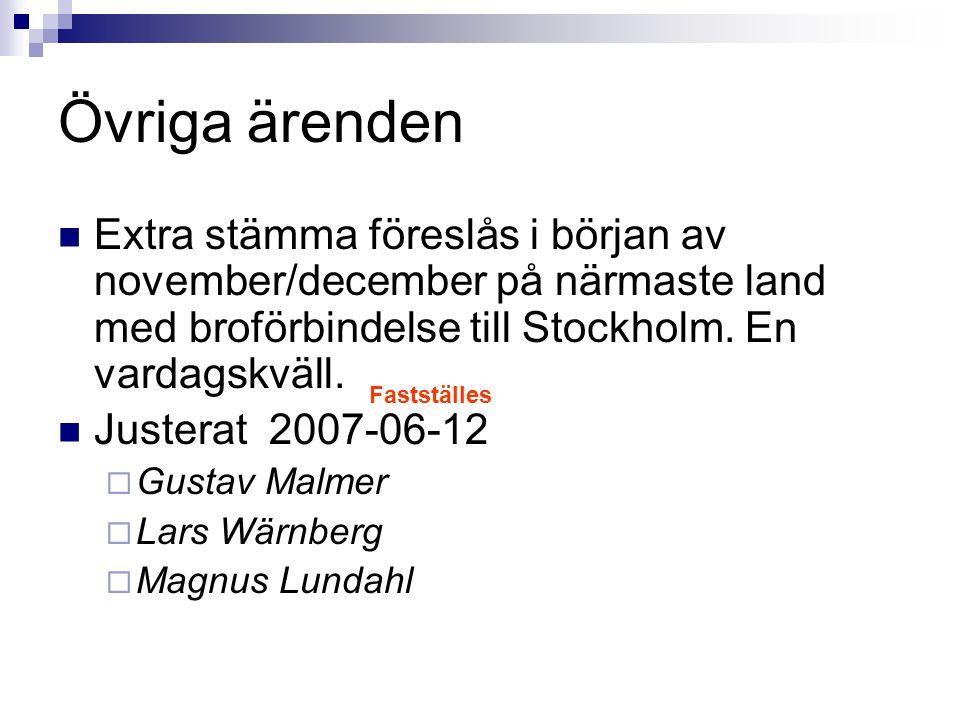Övriga ärenden Extra stämma föreslås i början av november/december på närmaste land med broförbindelse till Stockholm. En vardagskväll. Justerat 2007-