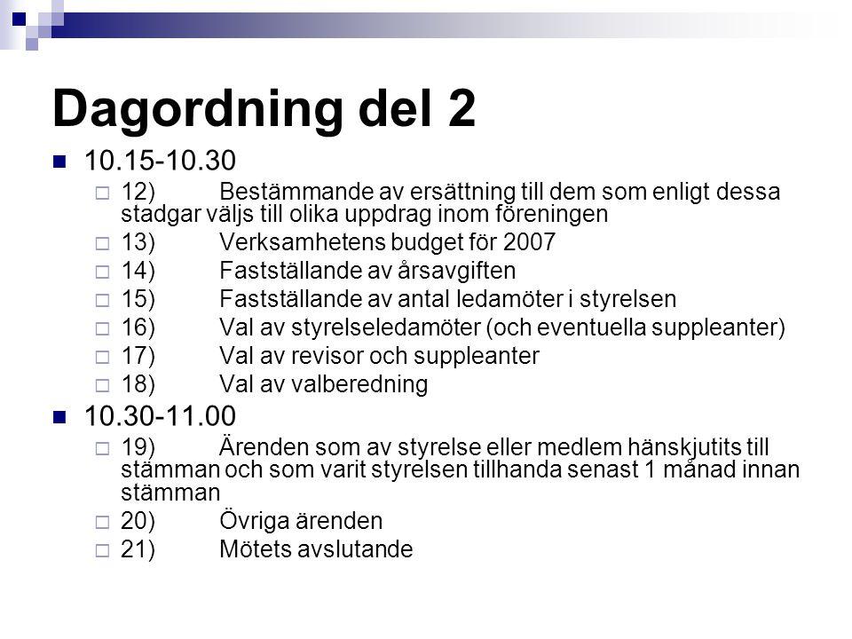 Dagordning del 2 10.15-10.30  12)Bestämmande av ersättning till dem som enligt dessa stadgar väljs till olika uppdrag inom föreningen  13)Verksamhet