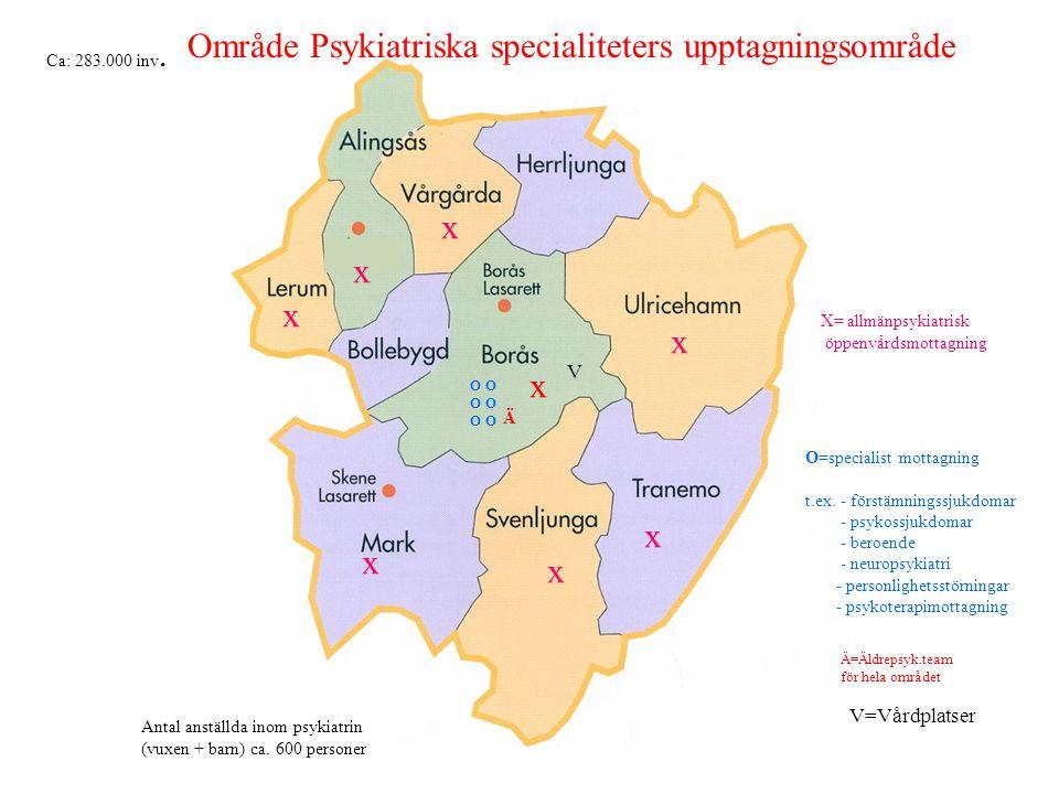 x x x x x x x O O O X= allmänpsykiatrisk öppenvårdsmottagning O=specialist mottagning t.ex. - förstämningssjukdomar - psykossjukdomar - beroende - neu