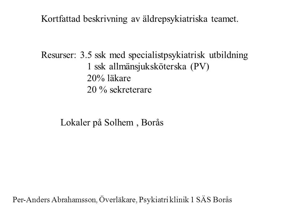 Kortfattad beskrivning av äldrepsykiatriska teamet. Resurser: 3.5 ssk med specialistpsykiatrisk utbildning 1 ssk allmänsjuksköterska (PV) 20% läkare 2