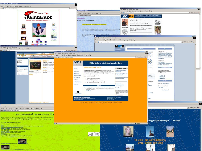 Målsättningar med webben Tydlig avsändare, orange Ingångar för olika målgrupper som ska leda till all info Menyn visar mer, lättare få överblick Tillgänglig Puffar som inte ska kännas som banners Startsidan är till ¾ avsedd för målgruppen presumtiva studenter