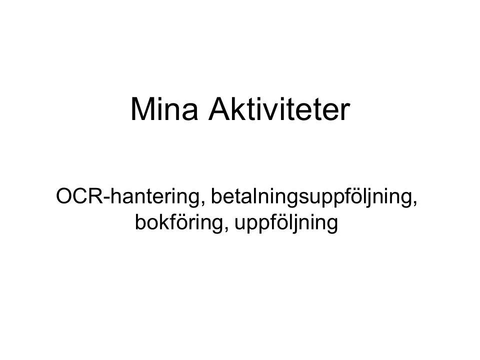 Mina Aktiviteter OCR-hantering, betalningsuppföljning, bokföring, uppföljning