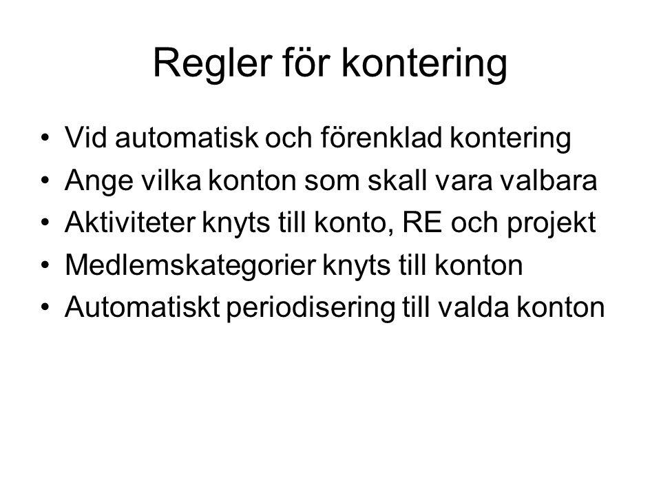 Regler för kontering Vid automatisk och förenklad kontering Ange vilka konton som skall vara valbara Aktiviteter knyts till konto, RE och projekt Medl
