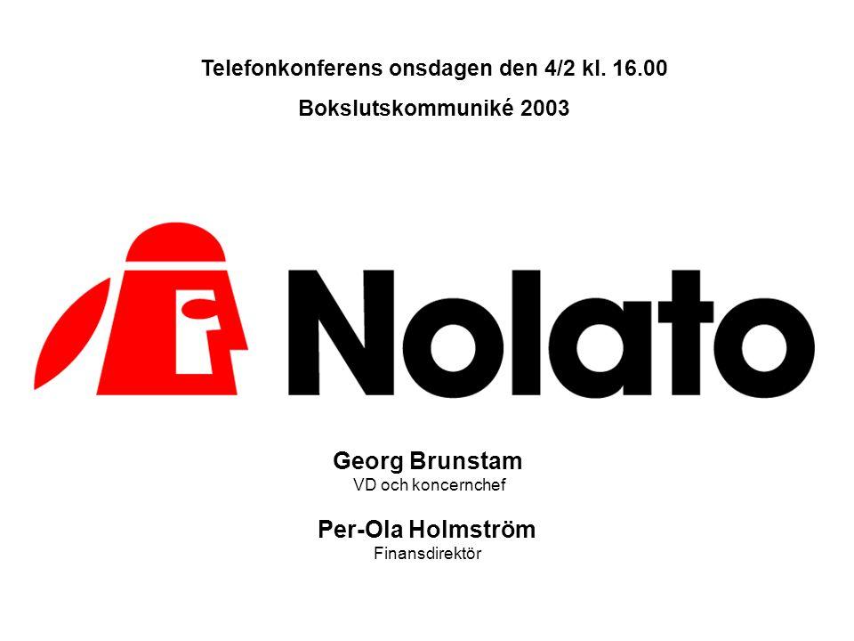 Georg Brunstam VD och koncernchef Per-Ola Holmström Finansdirektör Telefonkonferens onsdagen den 4/2 kl. 16.00 Bokslutskommuniké 2003