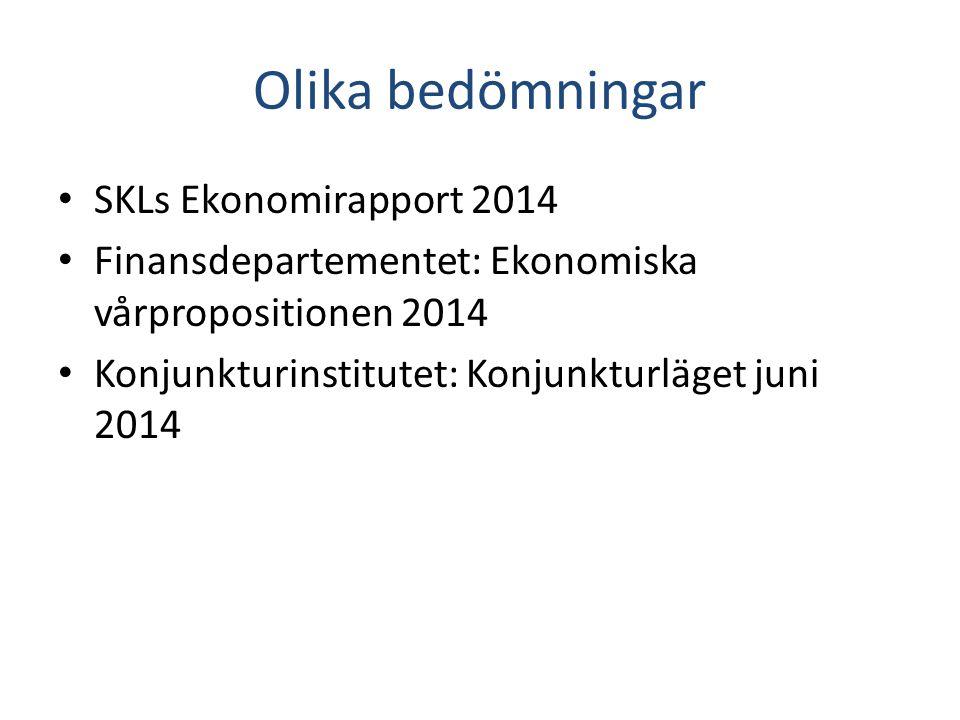 Olika bedömningar SKLs Ekonomirapport 2014 Finansdepartementet: Ekonomiska vårpropositionen 2014 Konjunkturinstitutet: Konjunkturläget juni 2014