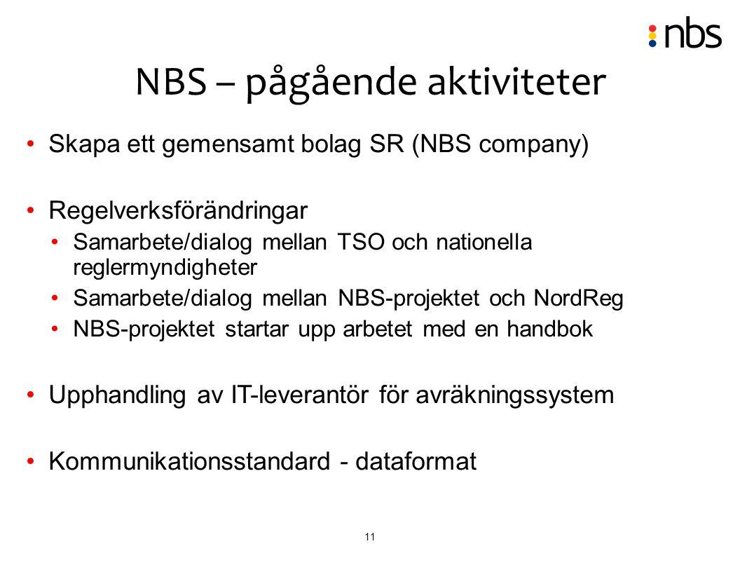 11 Skapa ett gemensamt bolag SR (NBS company) Regelverksförändringar Samarbete/dialog mellan TSO och nationella reglermyndigheter Samarbete/dialog mel