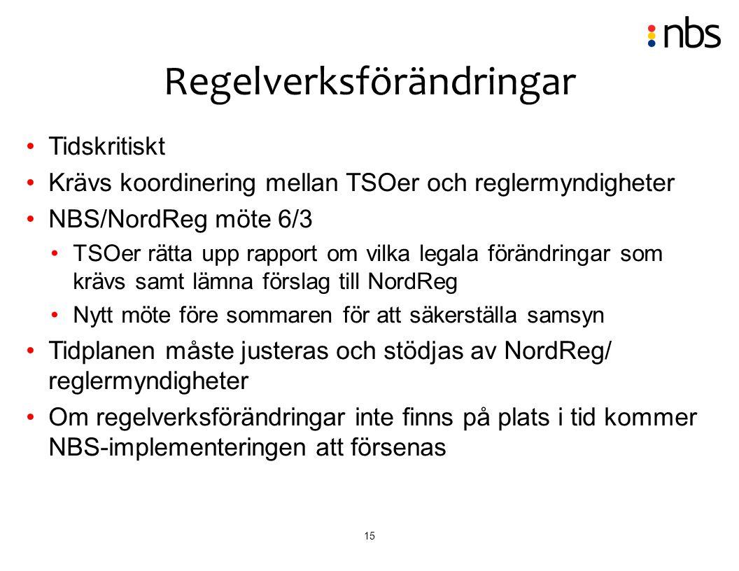 15 Tidskritiskt Krävs koordinering mellan TSOer och reglermyndigheter NBS/NordReg möte 6/3 TSOer rätta upp rapport om vilka legala förändringar som kr
