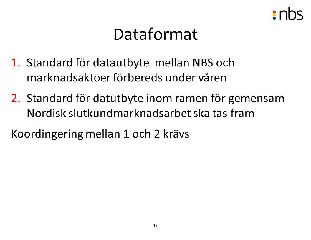 17 1.Standard för datautbyte mellan NBS och marknadsaktöer förbereds under våren 2.Standard för datutbyte inom ramen för gemensam Nordisk slutkundmark