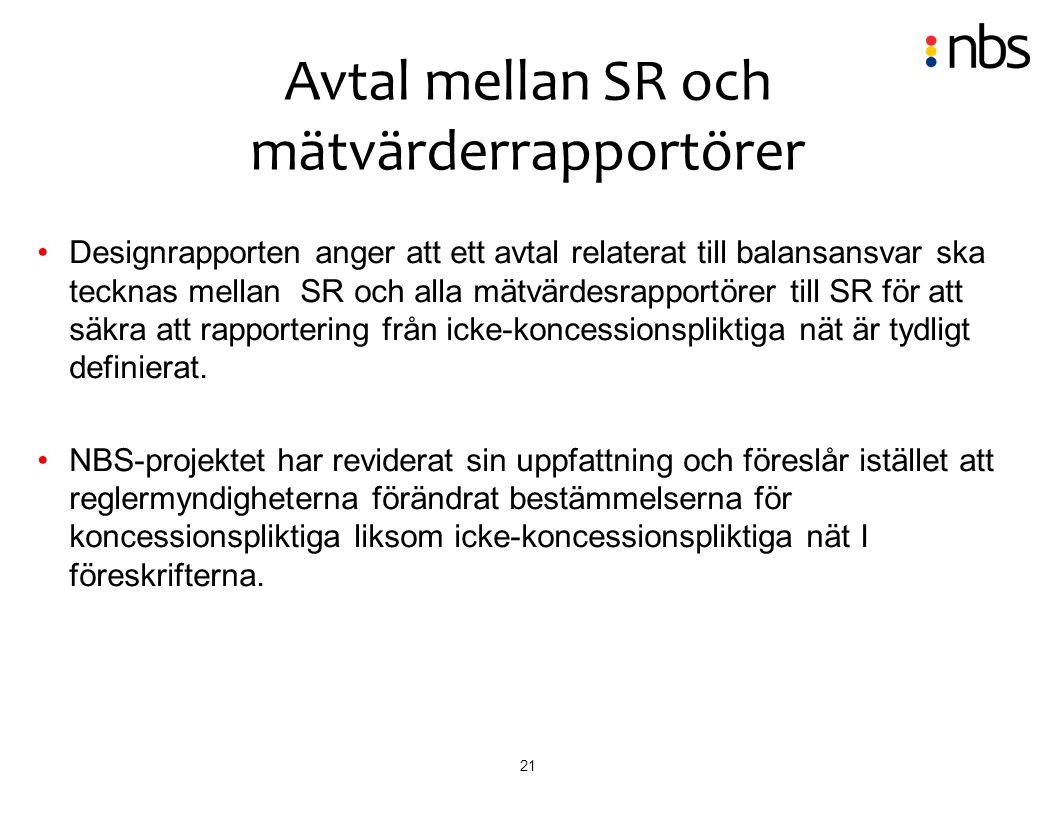 21 Designrapporten anger att ett avtal relaterat till balansansvar ska tecknas mellan SR och alla mätvärdesrapportörer till SR för att säkra att rappo