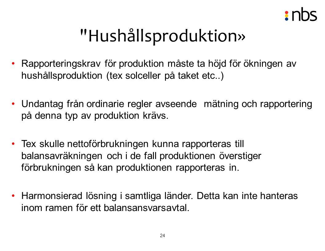24 Rapporteringskrav för produktion måste ta höjd för ökningen av hushållsproduktion (tex solceller på taket etc..) Undantag från ordinarie regler avs
