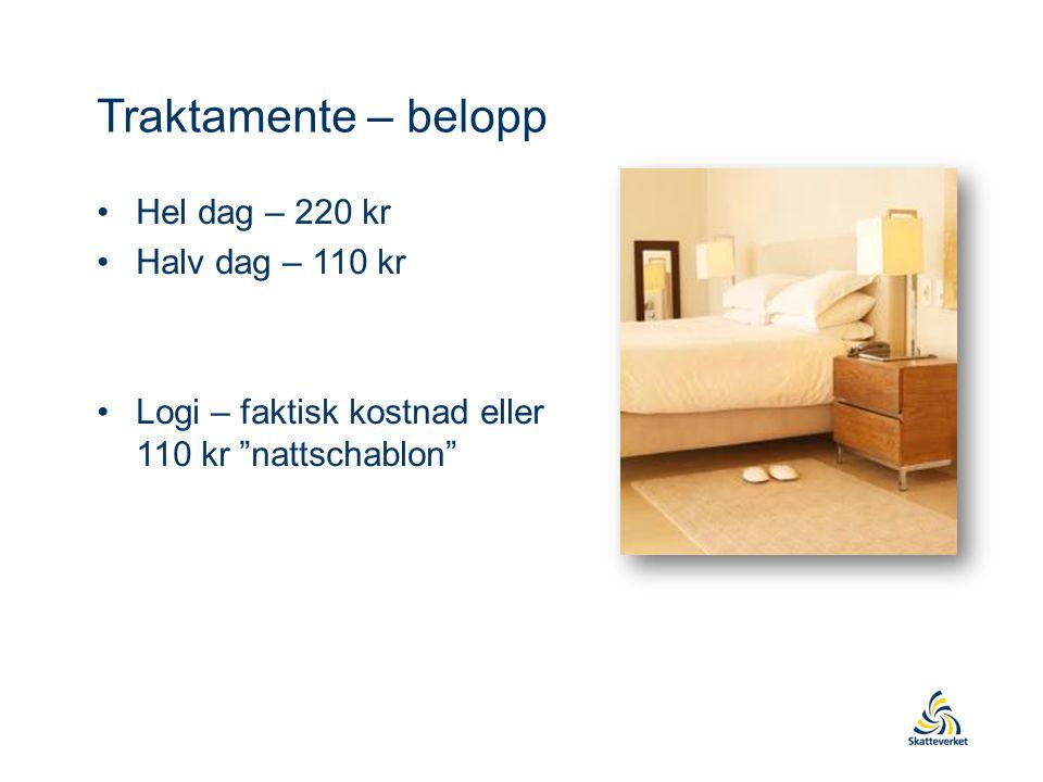 """Traktamente – belopp Hel dag – 220 kr Halv dag – 110 kr Logi – faktisk kostnad eller 110 kr """"nattschablon"""""""