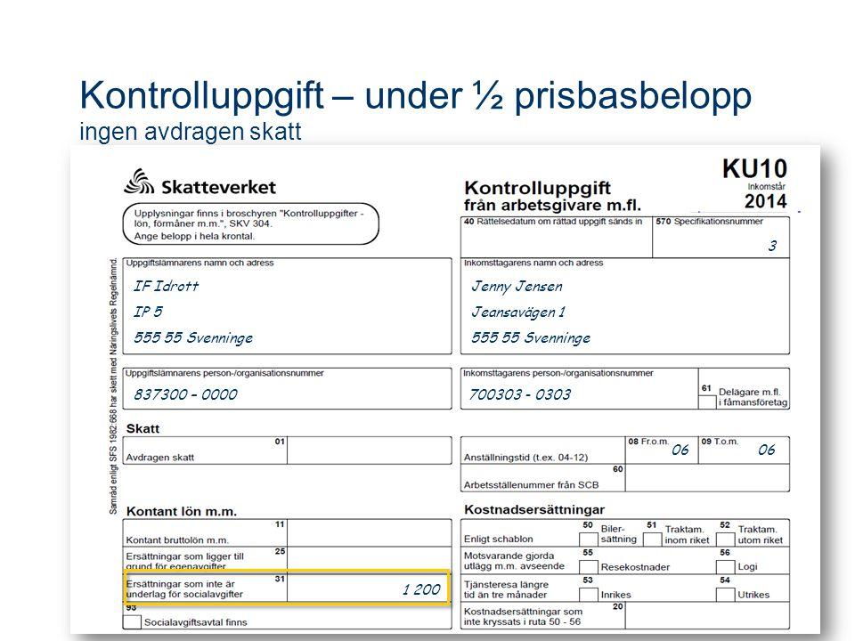 Kontrolluppgift – under ½ prisbasbelopp ingen avdragen skatt Jenny Jensen Jeansavägen 1 555 55 Svenninge 3 837300 – 0000 700303 - 0303 06 06 1 200 IF