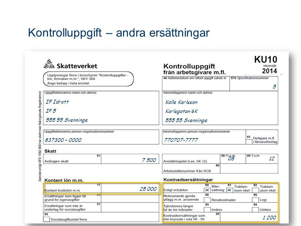 Kalle Karlsson Karlsgatan 6K 555 55 Svenninge 5 837300 – 0000 770707-7777 08 12 7 500 25 000 1 200 IF Idrott IP 5 555 55 Svenninge Kontrolluppgift – andra ersättningar