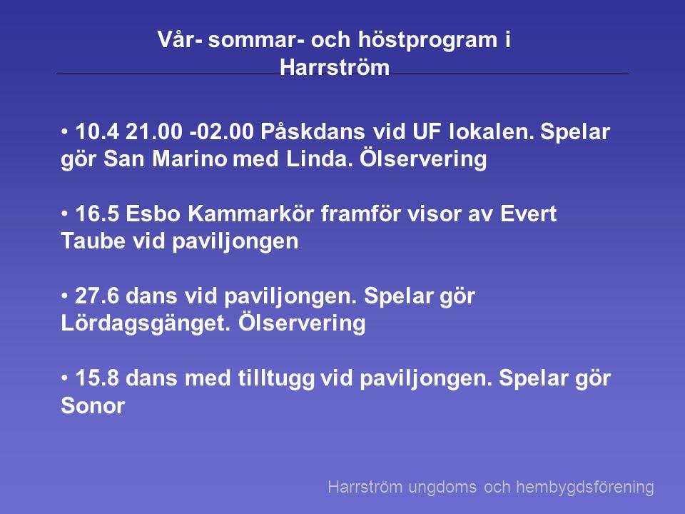 Vår- sommar- och höstprogram i Harrström 10.4 21.00 -02.00 Påskdans vid UF lokalen. Spelar gör San Marino med Linda. Ölservering 16.5 Esbo Kammarkör f