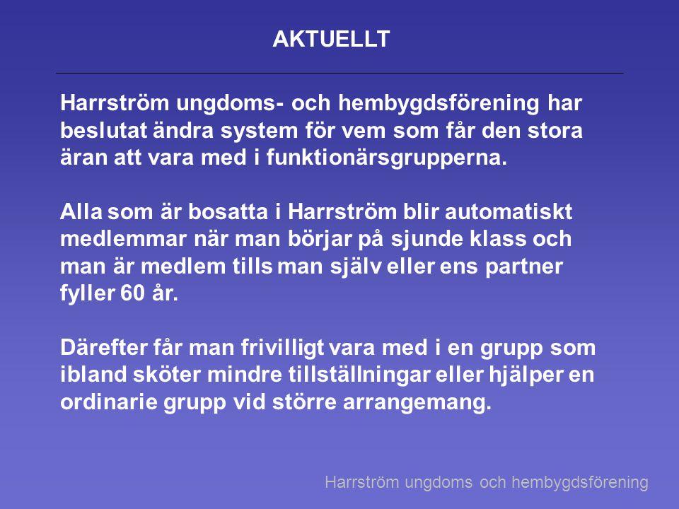 AKTUELLT Harrström ungdoms- och hembygdsförening har beslutat ändra system för vem som får den stora äran att vara med i funktionärsgrupperna. Alla so