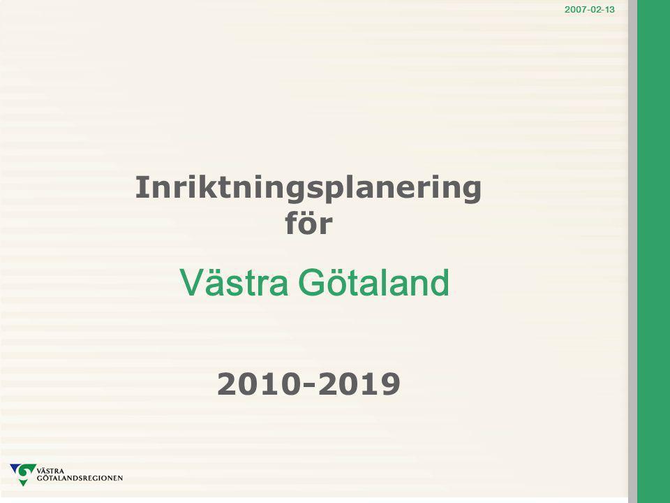 2007-02-13 Vårt transportsystem ska… förbättra tillgängligheten nationellt och internationellt för landets viktigaste transport- och industriregion bidra till sänkta logistik- och transportkostnader för svensk industri och handel Särskilt stärka utvecklingsförutsättningarna för sjöfart, järnvägstransporter och kollektivtrafik genom regionförstoring skapa förutsättningar för ökad tillväxt och jämställdhet bli säkrare och mer robust annat ?