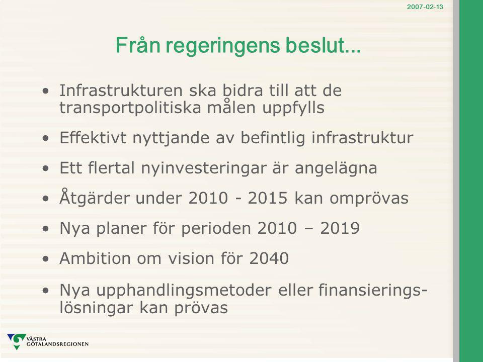 2007-02-13 Från regeringens beslut... Infrastrukturen ska bidra till att de transportpolitiska målen uppfylls Effektivt nyttjande av befintlig infrast