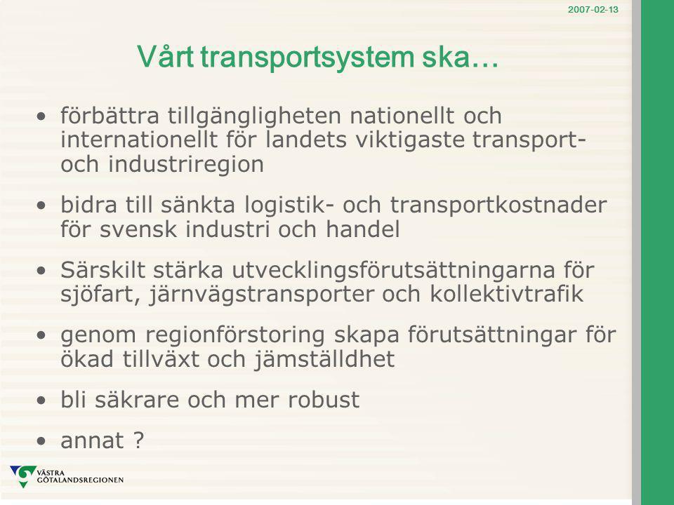 2007-02-13 Vårt transportsystem ska… förbättra tillgängligheten nationellt och internationellt för landets viktigaste transport- och industriregion bi