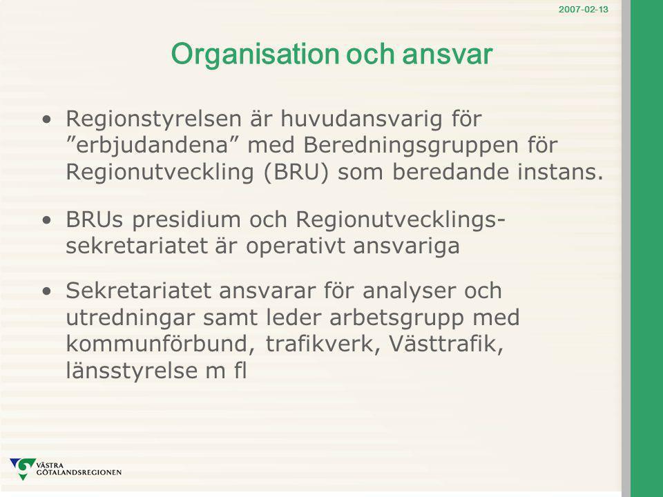 """2007-02-13 Organisation och ansvar Regionstyrelsen är huvudansvarig för """"erbjudandena"""" med Beredningsgruppen för Regionutveckling (BRU) som beredande"""