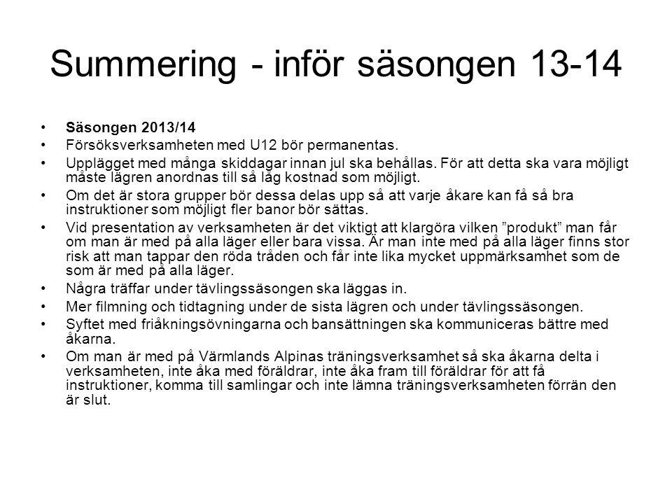 Summering - inför säsongen 13-14 Säsongen 2013/14 Försöksverksamheten med U12 bör permanentas.