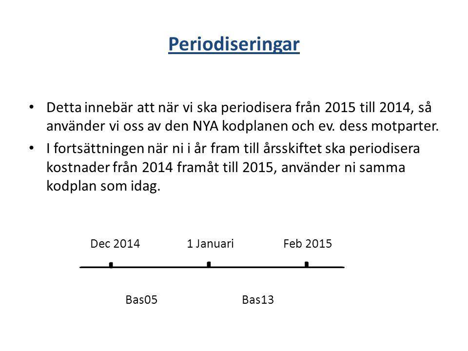 Periodiseringar Detta innebär att när vi ska periodisera från 2015 till 2014, så använder vi oss av den NYA kodplanen och ev. dess motparter. I fortsä
