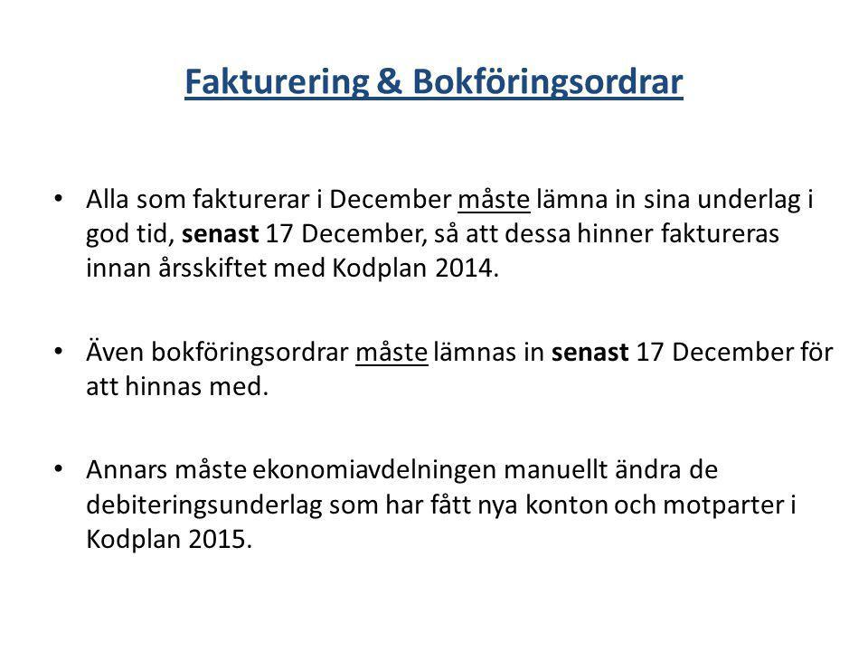 Fakturering & Bokföringsordrar Alla som fakturerar i December måste lämna in sina underlag i god tid, senast 17 December, så att dessa hinner fakturer
