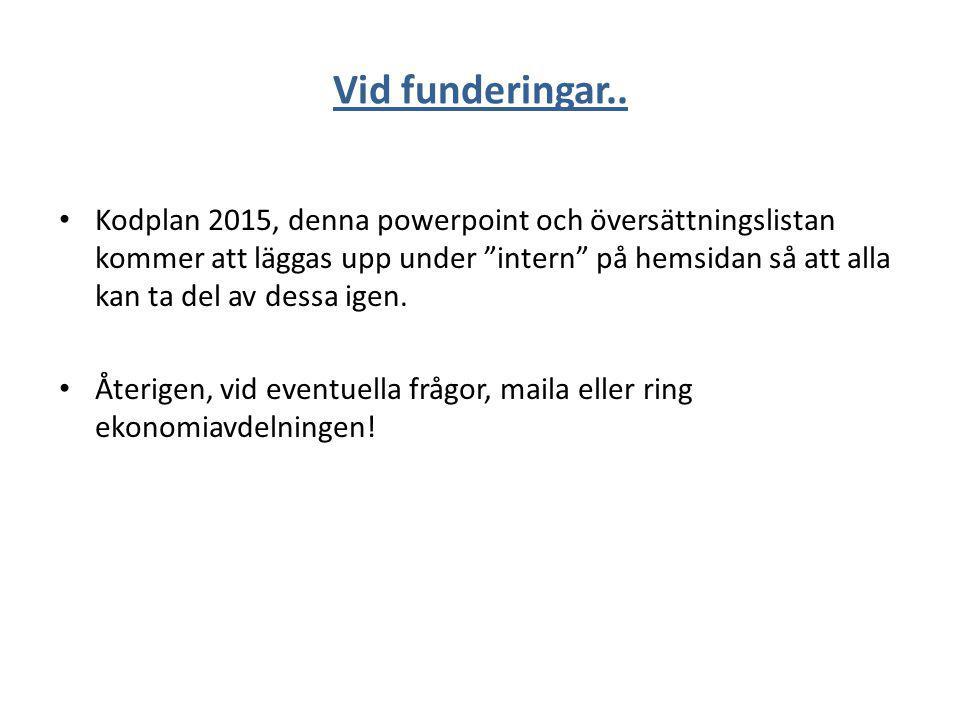 """Vid funderingar.. Kodplan 2015, denna powerpoint och översättningslistan kommer att läggas upp under """"intern"""" på hemsidan så att alla kan ta del av de"""