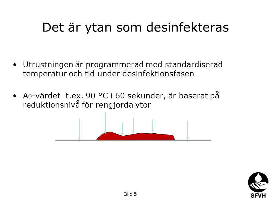 Det är ytan som desinfekteras Utrustningen är programmerad med standardiserad temperatur och tid under desinfektionsfasen A 0 -värdet t.ex.