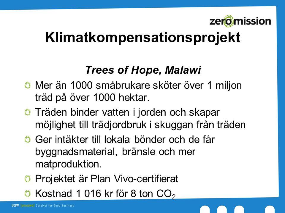 Klimatkompensationsprojekt Trees of Hope, Malawi Mer än 1000 småbrukare sköter över 1 miljon träd på över 1000 hektar.