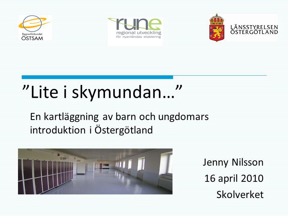"""""""Lite i skymundan…"""" En kartläggning av barn och ungdomars introduktion i Östergötland Jenny Nilsson 16 april 2010 Skolverket"""