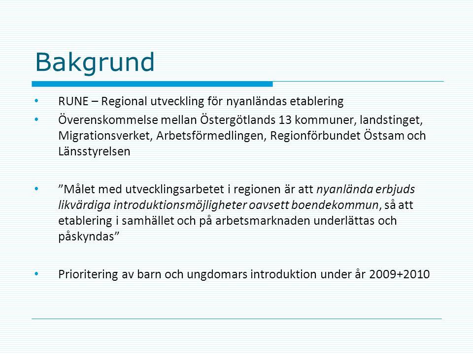 Bakgrund RUNE – Regional utveckling för nyanländas etablering Överenskommelse mellan Östergötlands 13 kommuner, landstinget, Migrationsverket, Arbetsf