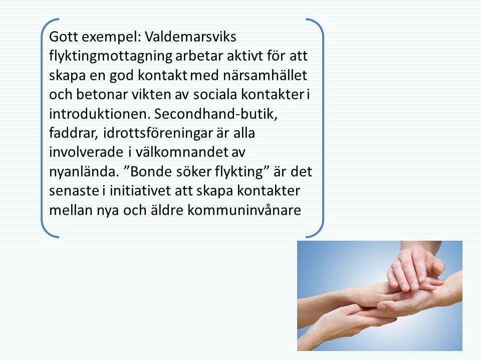 Gott exempel: Valdemarsviks flyktingmottagning arbetar aktivt för att skapa en god kontakt med närsamhället och betonar vikten av sociala kontakter i