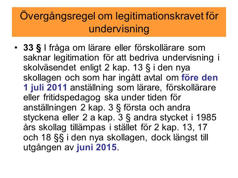 Övergångsregel om legitimationskravet för undervisning 33 § I fråga om lärare eller förskollärare som saknar legitimation för att bedriva undervisning i skolväsendet enligt 2 kap.