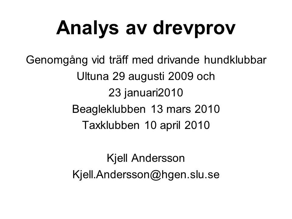 Analys av drevprov Genomgång vid träff med drivande hundklubbar Ultuna 29 augusti 2009 och 23 januari2010 Beagleklubben 13 mars 2010 Taxklubben 10 april 2010 Kjell Andersson Kjell.Andersson@hgen.slu.se