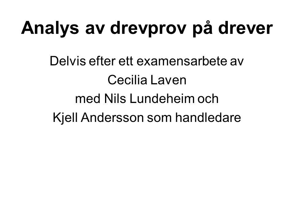 Analys av drevprov på drever Delvis efter ett examensarbete av Cecilia Laven med Nils Lundeheim och Kjell Andersson som handledare