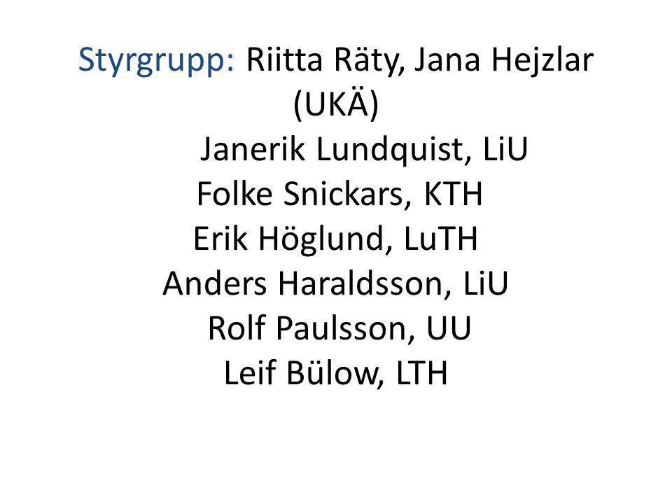 Styrgrupp: Riitta Räty, Jana Hejzlar (UKÄ) Janerik Lundquist, LiU Folke Snickars, KTH Erik Höglund, LuTH Anders Haraldsson, LiU Rolf Paulsson, UU Leif