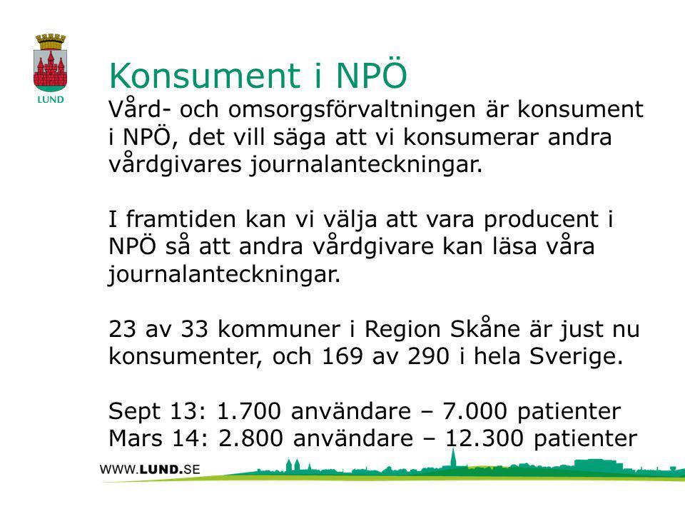Konsument i NPÖ Vård- och omsorgsförvaltningen är konsument i NPÖ, det vill säga att vi konsumerar andra vårdgivares journalanteckningar. I framtiden