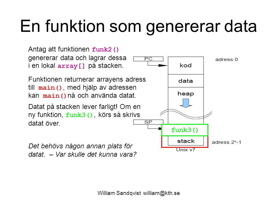 William Sandqvist william@kth.se En funktion som genererar data array[] Antag att funktionen funk2() genererar data och lagrar dessa i en lokal array[
