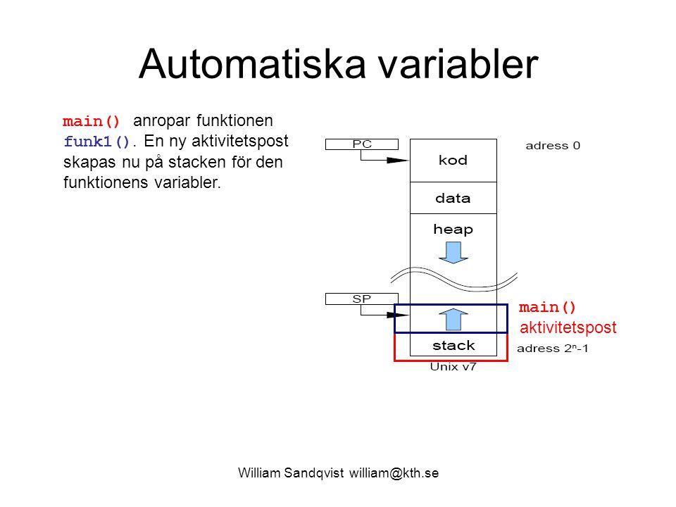 William Sandqvist william@kth.se Heapen array[] funk2() Funktionen funk2() behöver lagra sina data någon annanstans.