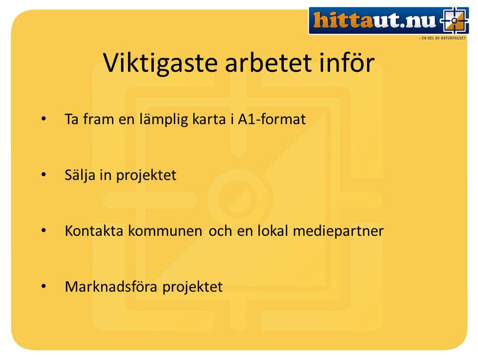 Viktigaste arbetet inför Ta fram en lämplig karta i A1-format Sälja in projektet Kontakta kommunen och en lokal mediepartner Marknadsföra projektet