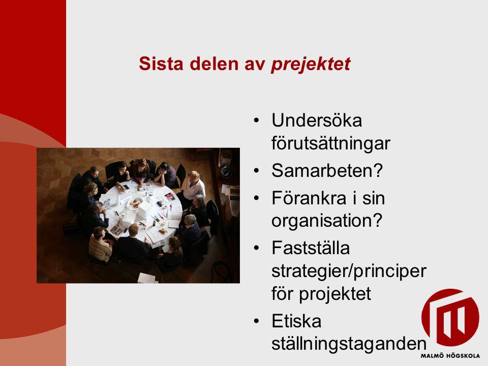 Sista delen av prejektet Undersöka förutsättningar Samarbeten? Förankra i sin organisation? Fastställa strategier/principer för projektet Etiska ställ