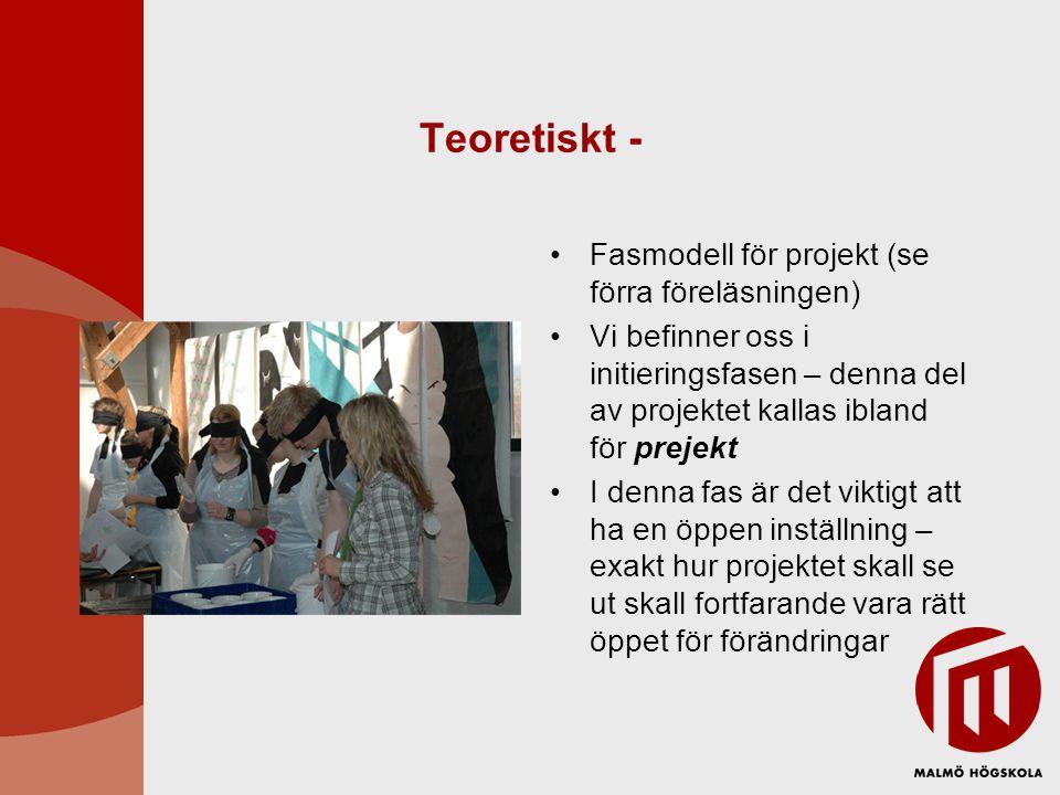 Teoretiskt - Fasmodell för projekt (se förra föreläsningen) Vi befinner oss i initieringsfasen – denna del av projektet kallas ibland för prejekt I de