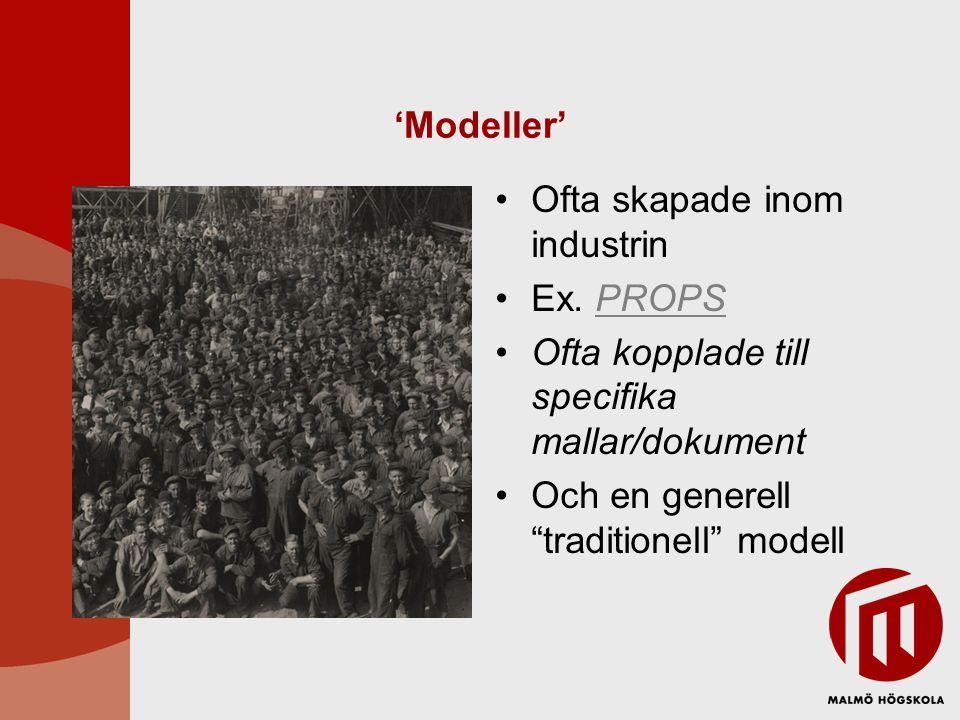 """'Modeller' Ofta skapade inom industrin Ex. PROPSPROPS Ofta kopplade till specifika mallar/dokument Och en generell """"traditionell"""" modell"""