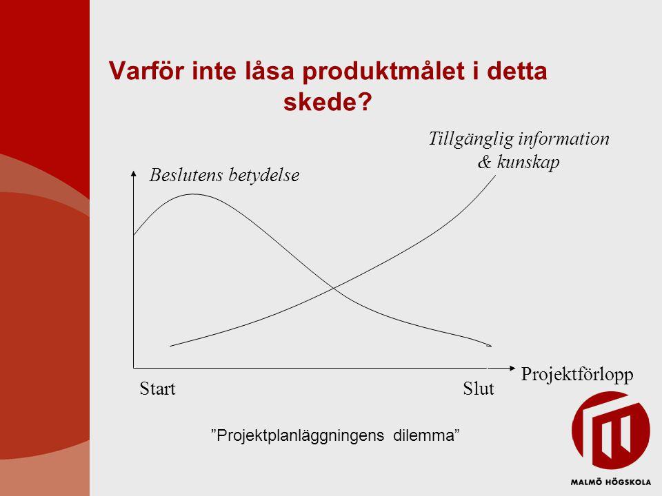"""Varför inte låsa produktmålet i detta skede? Projektförlopp Beslutens betydelse Tillgänglig information & kunskap StartSlut """"Projektplanläggningens di"""