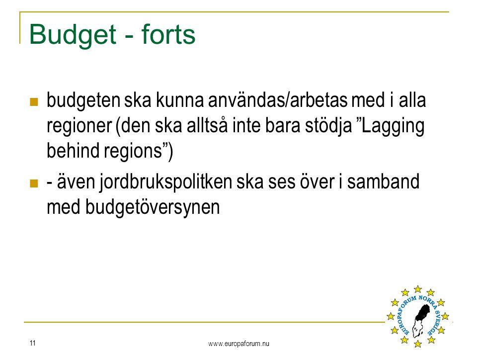 Budget - forts budgeten ska kunna användas/arbetas med i alla regioner (den ska alltså inte bara stödja Lagging behind regions ) - även jordbrukspolitken ska ses över i samband med budgetöversynen www.europaforum.nu 11