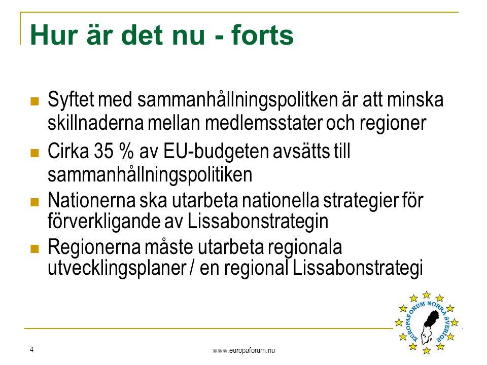 Hur är det nu - forts Syftet med sammanhållningspolitken är att minska skillnaderna mellan medlemsstater och regioner Cirka 35 % av EU-budgeten avsätts till sammanhållningspolitiken Nationerna ska utarbeta nationella strategier för förverkligande av Lissabonstrategin Regionerna måste utarbeta regionala utvecklingsplaner / en regional Lissabonstrategi www.europaforum.nu 4