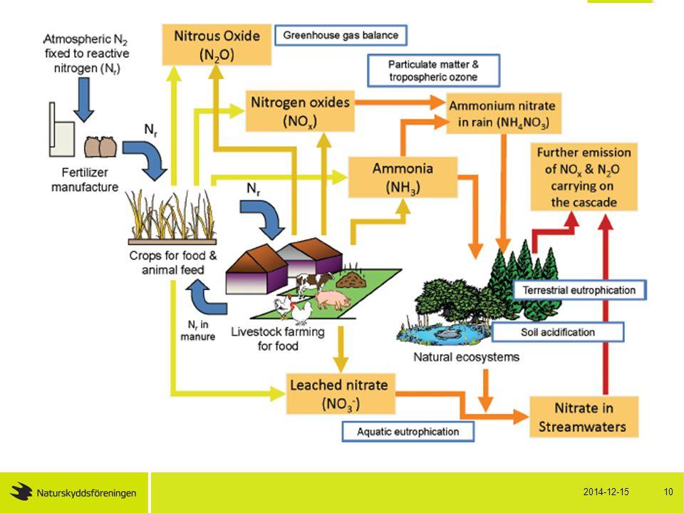 European Nitrogen Assessment 2011 Fem allvarliga samhällshot: Vattenkvalitet Luftkvalitet Klimatförändringar Ekosystem och biologisk mångfald Jordkvalitet 2014-12-15 11